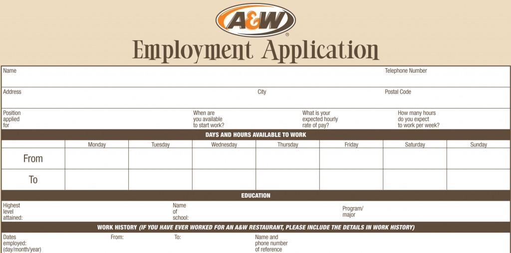 A W Job Application Printable Job Employment Forms
