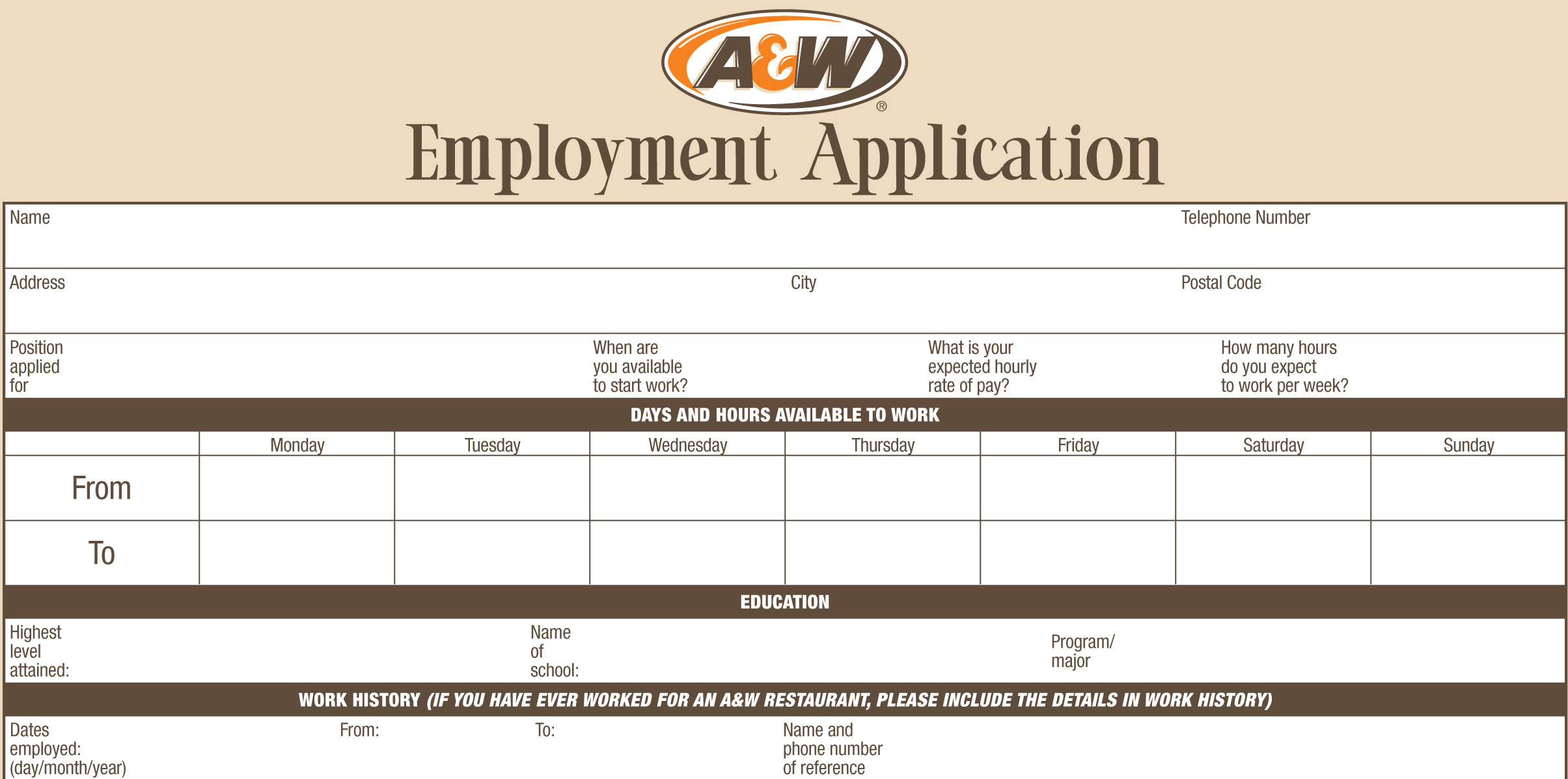 A & W Job Application - Printable Employment PDF Forms