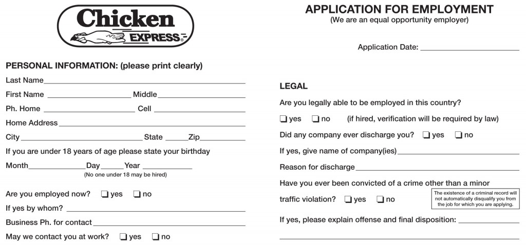 Chicken Express Job Application Printable Job Employment Forms