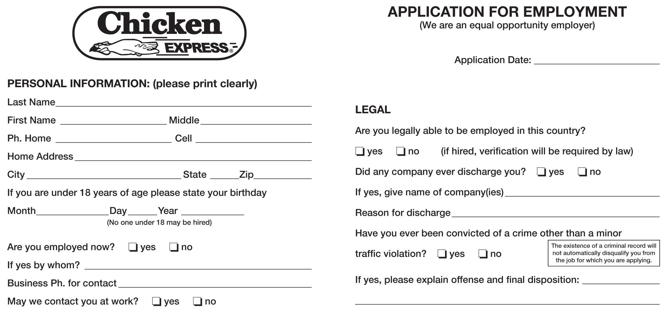 Chicken Express Job Application Printable Job Employment Forms – Printable Application