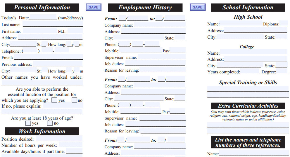 Port Of Subs Job Application  Printable Job Employment Forms
