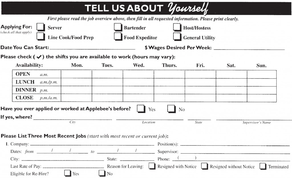 Applebees Job Application Printable Job Employment Forms