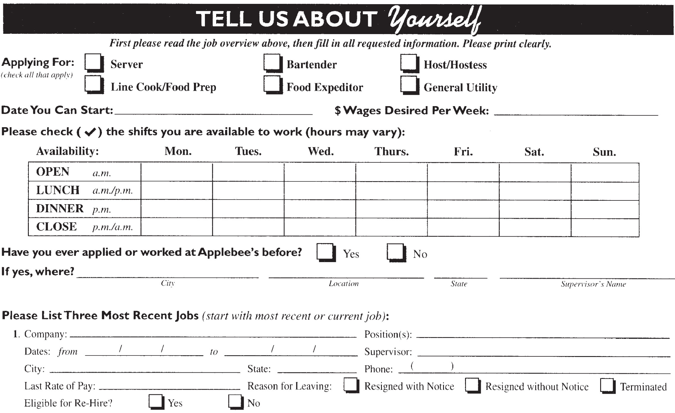work from home jobs app applebee s job application printable employment pdf forms 3026