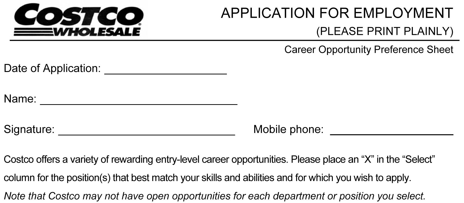 costco job application printable job employment forms costco job application