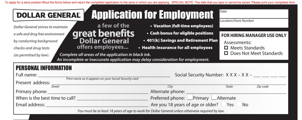 Dollar General Job Application Printable Job Employment Forms