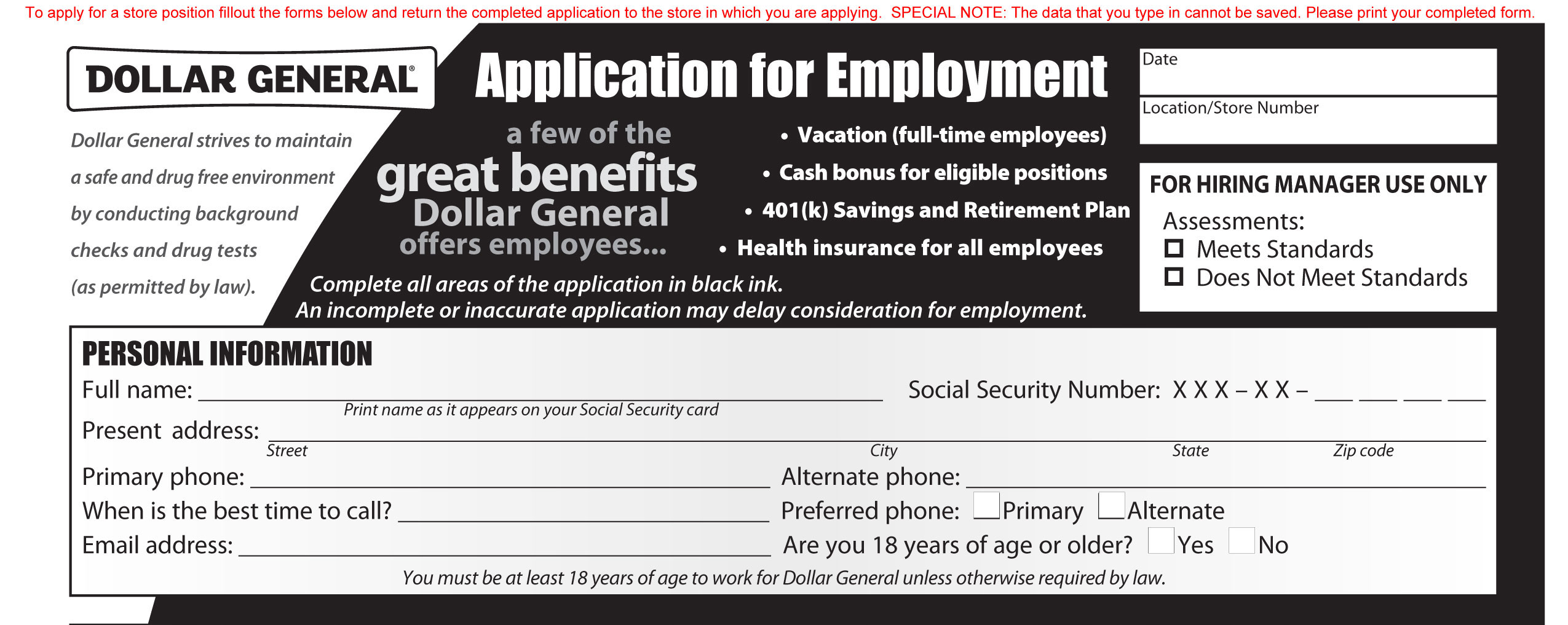 dollar general job application printable employment pdf forms