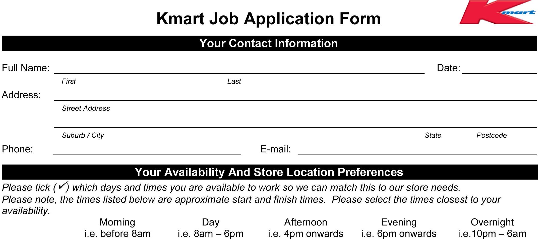 Kmart Job Application - Printable Employment PDF Forms