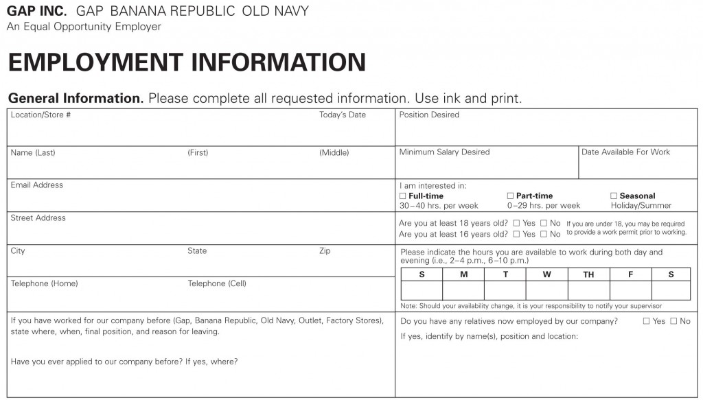Old Navy Job Application Online Apply Through Printable Pdf Form