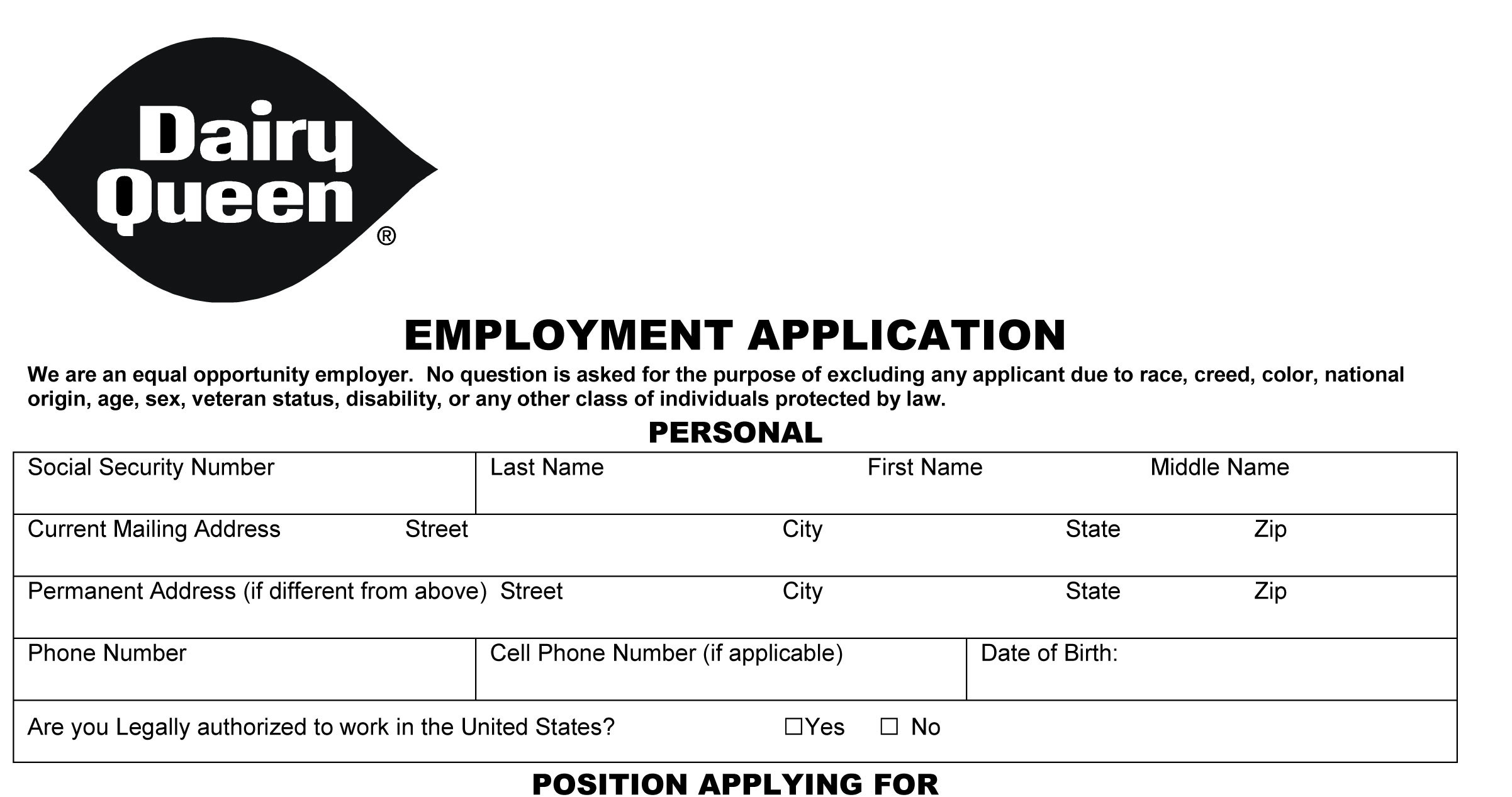 Dairy Queen Job Application - Printable Employment PDF Forms