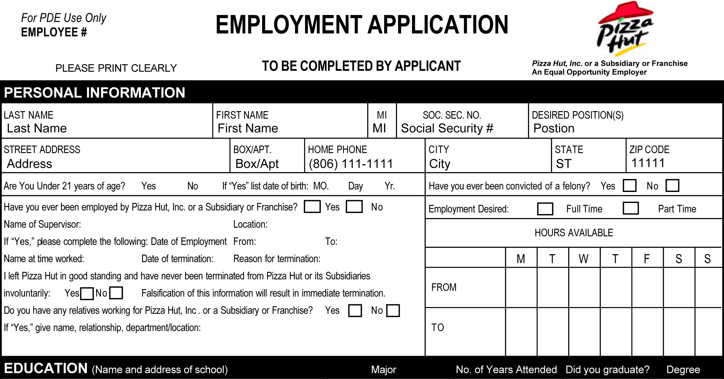 Pizza Hut Job Application Printable Job Employment Forms – Printable Application