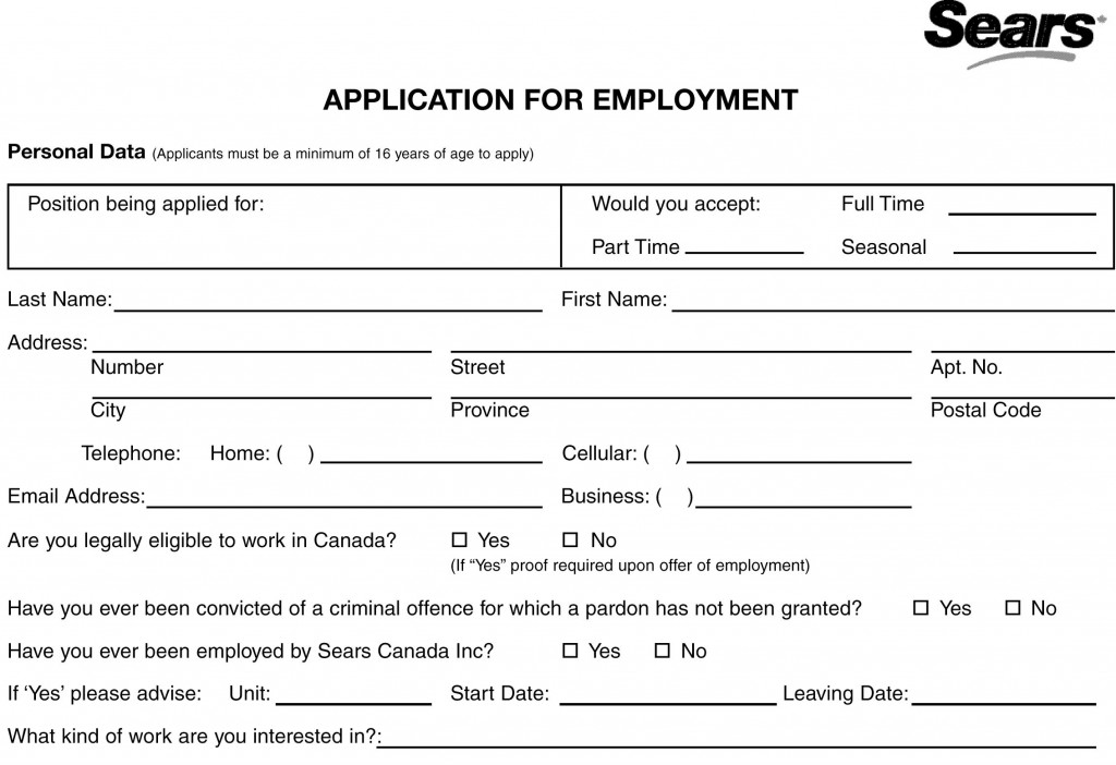 Sears Job Application Printable Job Employment Forms