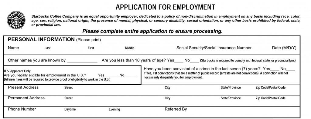 Starbucks Job Application Printable Job Employment Forms