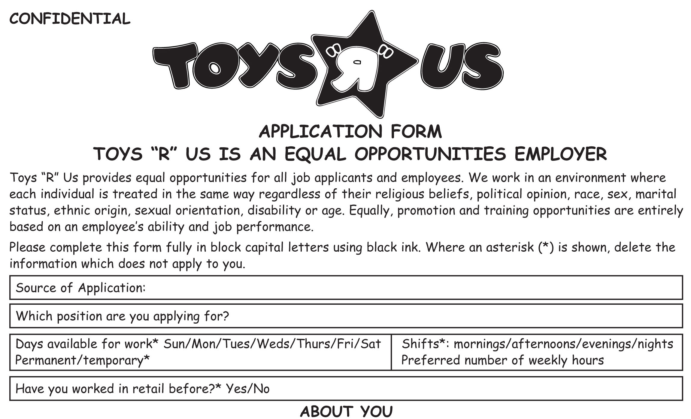 Toys R Us Job Application Printable Employment Pdf Forms