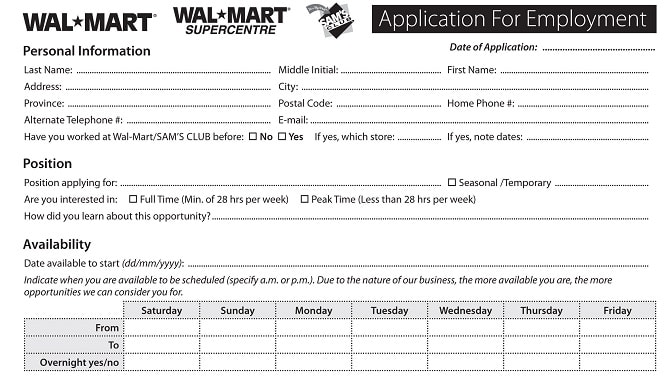 Walmart Job Application - Printable Job Employment Forms