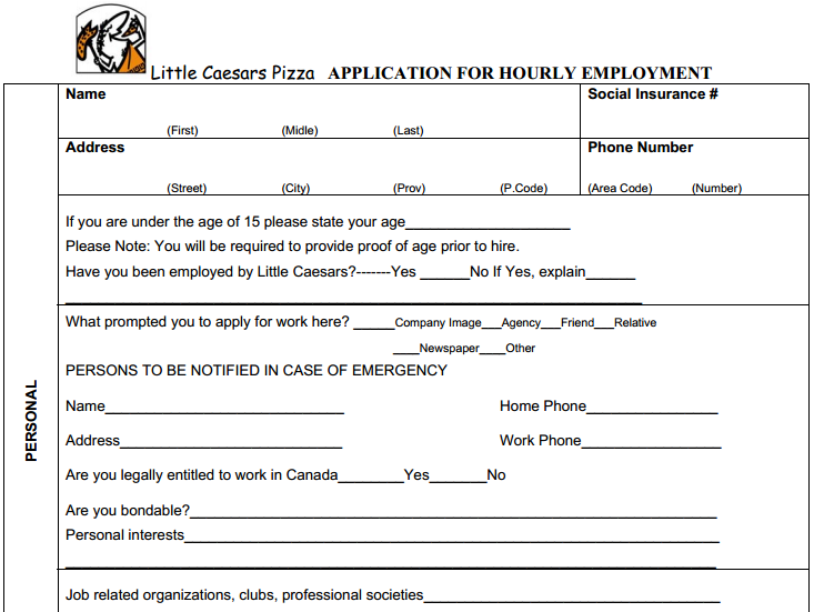 Little Caesars Job Application Printable Job Employment Forms