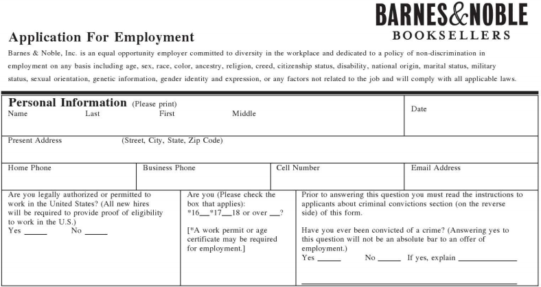 Barnes Noble Inc Job Application Printable Job Employment Forms