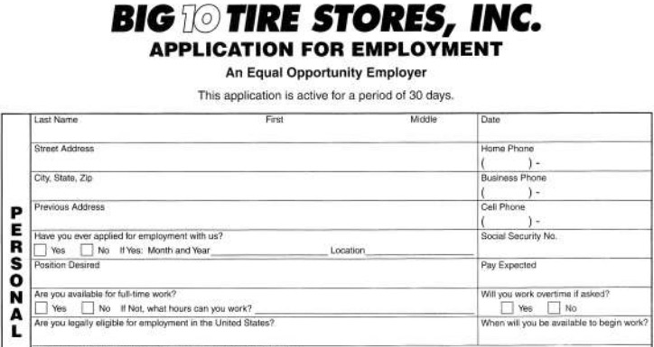 Big  Tires Job Application  Printable Job Employment Forms