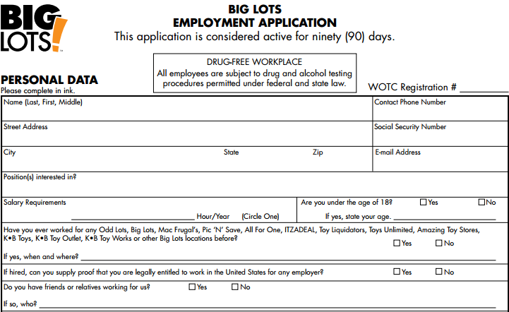 Big Lots Job Application Printable Job Employment Forms – Printable Application