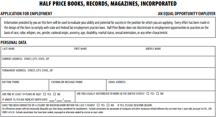 Half Price Books Job Application - Printable Job Employment Forms