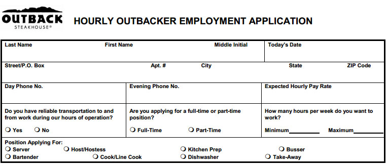 Outback Steakhouse Job Application - Printable Job Employment Forms
