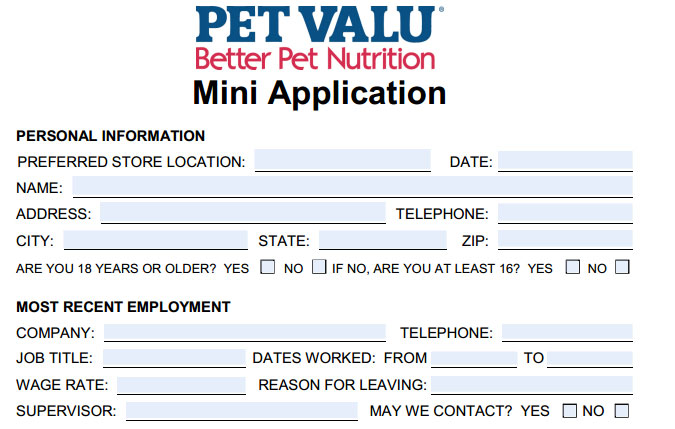 Pet Valu Job Application Printable Employment Pdf Forms