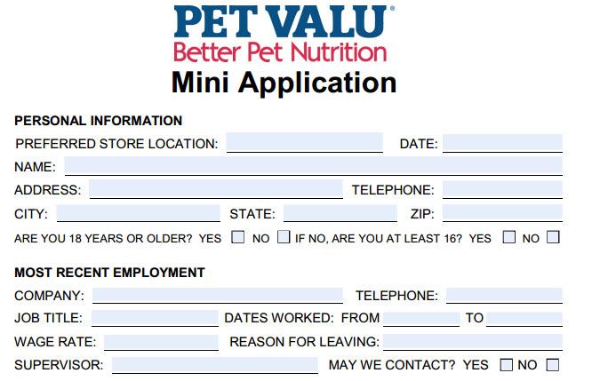 Pet Valu Job Application Printable Job Employment Forms