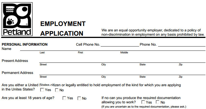 Petland Job Application - Printable Job Employment Forms
