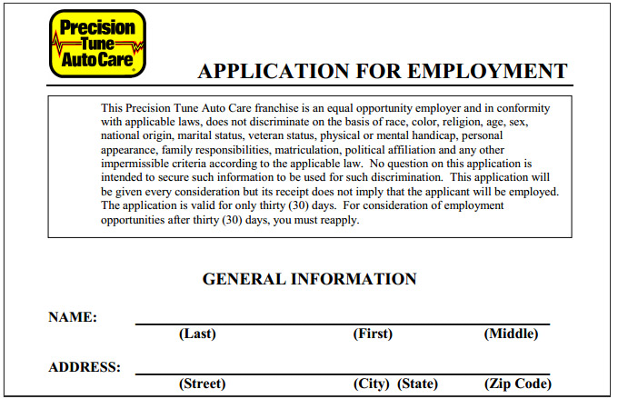 precision tune auto care job application printable job employment
