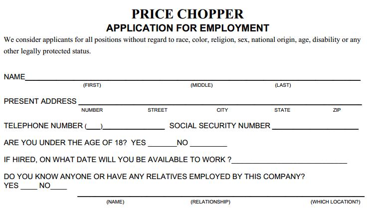 Price Chopper Job Application Printable Job Employment Forms