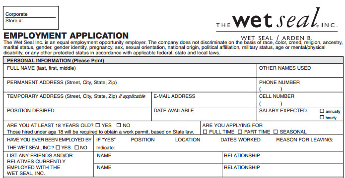 Wet Seal Job Application - Printable Job Employment Forms