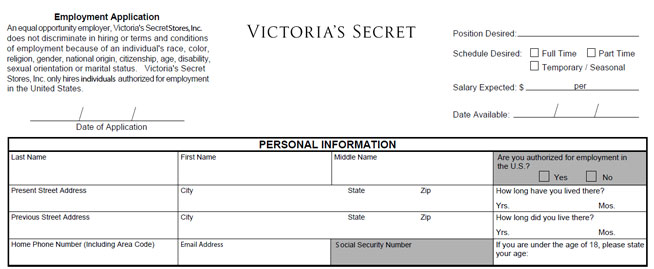Victoria'S Secret Job Application - Printable Job Employment Forms