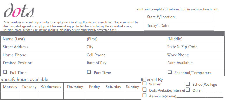 Ross clothing store job application