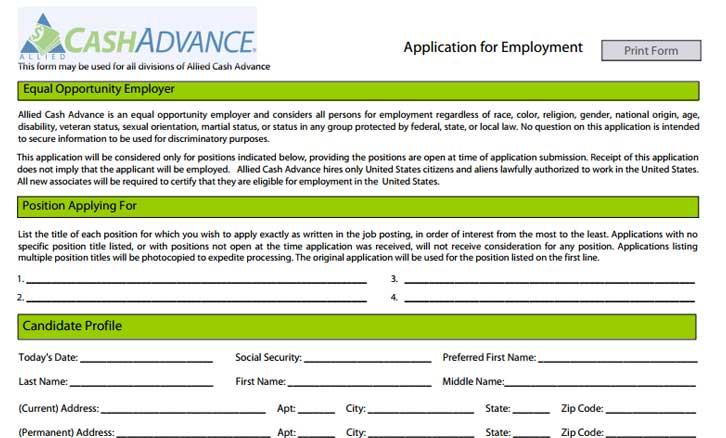 Job Description For Cash Advance