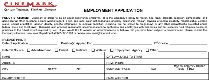 Cinemark Job Application - Printable Job Employment Forms