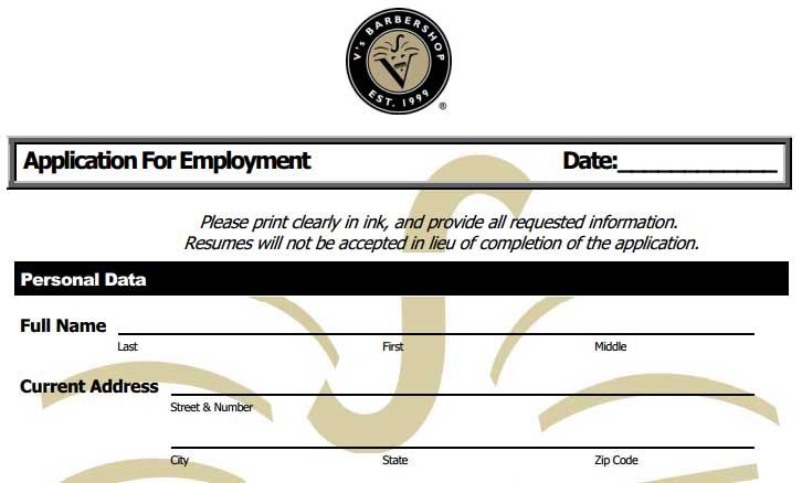 V'S Barbershop Job Application - Printable Job Employment Forms