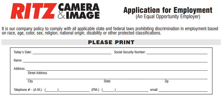 Ritz Camera Job Application  Printable Job Employment Forms