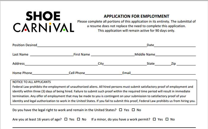 Shoe Carnival Job Application  Printable Job Employment Forms